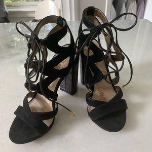 Sam Edelman black faux suede cage sandal 7